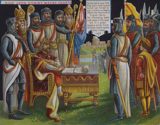 King John signing Magna Carta, Runnymede, Surrey, 1215. Postcard, early 20th Century.