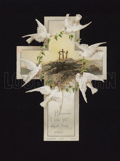 Doves carrying a wreath above the three crosses on the hilltop of Calvary, Christian greetings card.