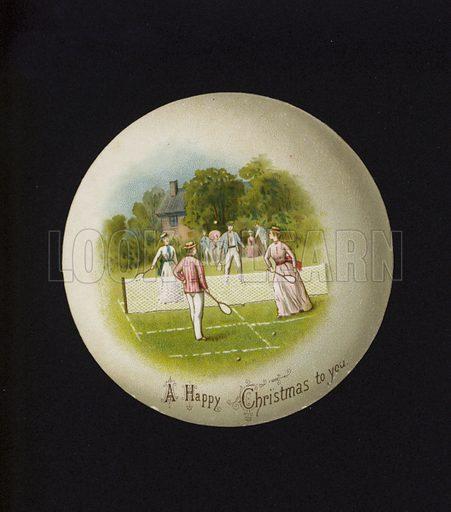 Game of lawn tennis, Christmas greetings card.