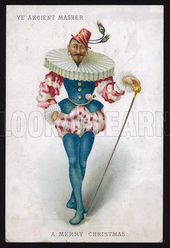 Ye ancient masher, man in an extravagant Tudor costume with an outsized ruff, Christmas greetings card.