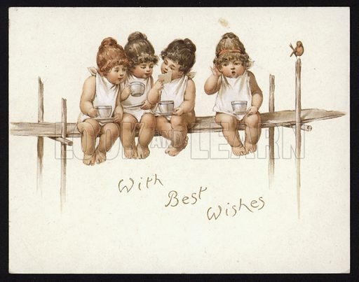 Toddlers drinking tea seated on a scaffolding board, greetings card.