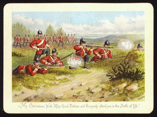 Soldiers of the 3rd London Rifle Volunteer Corps firing their rifles on a battlefield, Christmas greetings card.