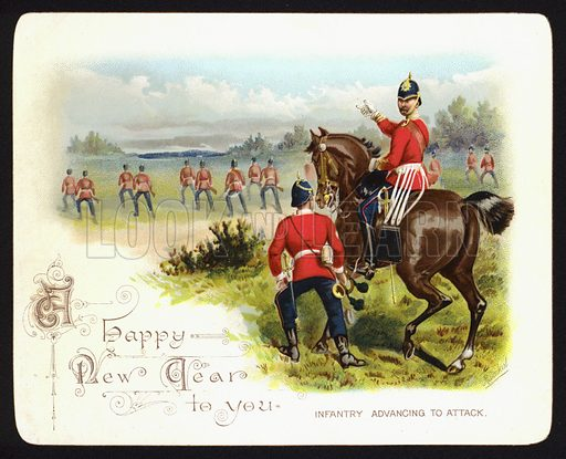 Infantry advancing to attack, New Year greetings card.