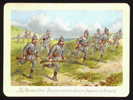 British soldiers of the 13th Middlesex Queen's Westminster Rifle Volunteer Corps, Christmas greetings card.