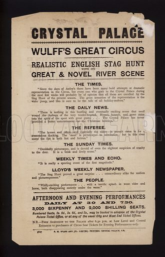 Advertisement for Wulff's Great Circus at the Crystal Palace, Sydenham, London, featuring newspaper reviews of the show.