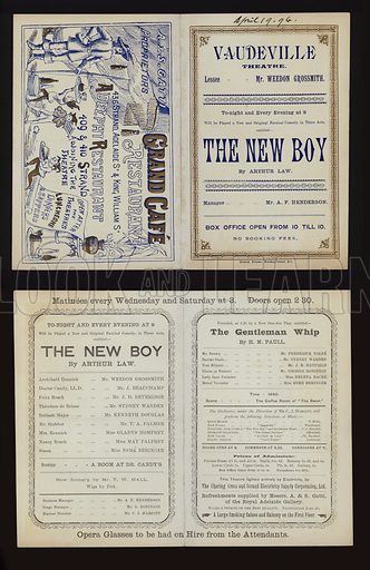 Theatre programme for a performance of The New Boy, by Arthur Law, and The Gentleman Whip, by H M Paull, at the Vaudeville Theatre, London, 1894.