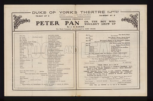 Theatre programme for a performance of Peter Pan, by J M Barrie, at the Duke of York's Theatre, London, 1904.