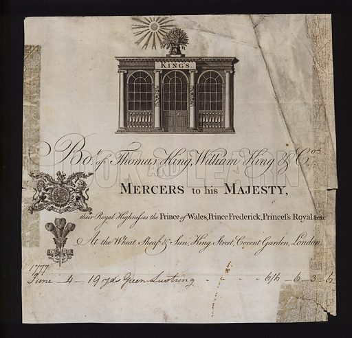 Delivery note from Thomas King, William King & Co, mercers to King George III, the Prince of Wales, Prince Frederick and the Princess Royal, 1777.