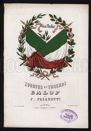 Zouaves et Turckos, galop by F Fasanotti, sheet music cover.