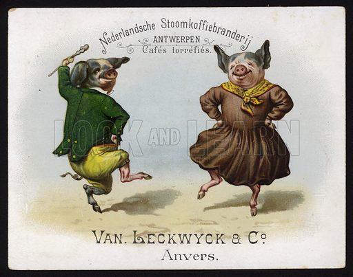 Dancing pigs wearing Irish costume. Trade card, early 20th Century.