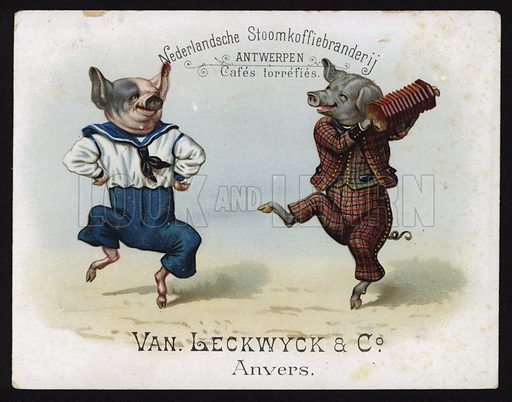 Dancing pigs wearing English costume. Trade card, early 20th Century.