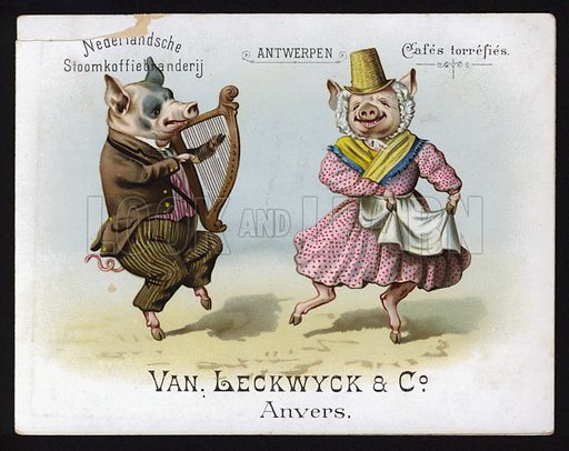 Dancing pigs wearing Welsh costume. Trade card, early 20th Century.