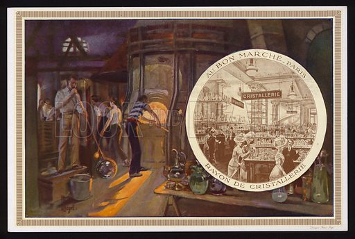 Glass manufacturing, and the crystalware department at the Au Bon Marche department store, Paris, France. Trade card, early 20th Century.