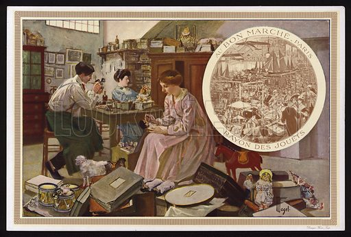 Making toys, and the toys department at the Au Bon Marche department store, Paris, France. Trade card, early 20th Century.