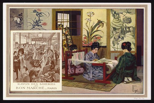 Weaving silk in Japan, and the silk department at the Au Bon Marche department store, Paris, France. Trade card, early 20th Century.
