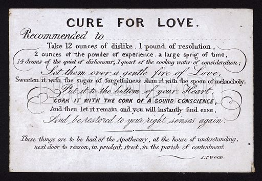 Cure for Love. Humorous postcard, late 19th or early 20th Century.