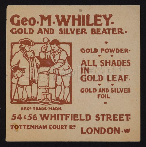 Trade card of Geo M Whiley, gold and silver beater, London.