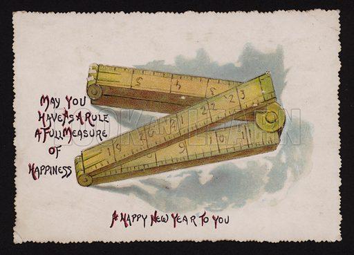 Folding ruler, Christmas greetings card.