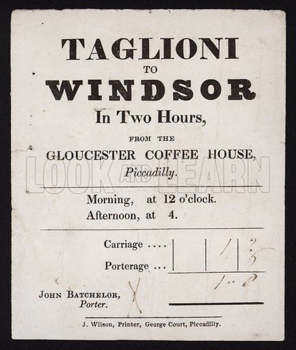Taglioni to Windsor from the Gloucester Coffee House, Piccadilly, London, Victorian bill.