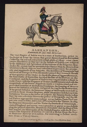 Alexander I (1777-1825), Tsar of Russia, 1816.