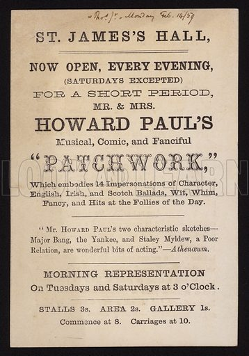 Victorian playbill advertising a performance of Mr and Mrs Howard Paul's musical, comic and fanciful show Patchwork, at St James's Hall, London, 1859.