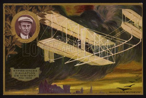Flight of the Wright Brothers Flyer, Pau, France, 1909.