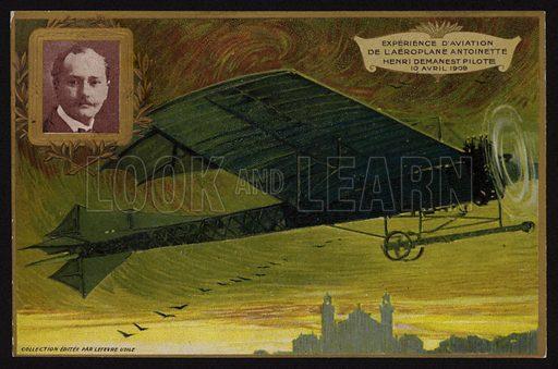 Flight of the Antoinette aircraft by Henri Demanest, France, 10 April 1909.