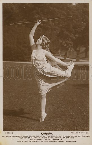 Madame Karina, prima ballerina of the Royal Opera House, Covent Garden, London. Postcard, early 20th Century.