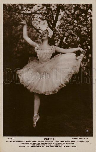 Madame Karina, prima ballerina of the Royal Opera House, Covent Garden, London. Postcard, early 20th Century.