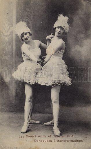 Anita and Carmen, dancing sisters. Postcard, early 20th Century.
