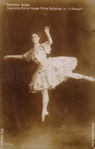 Enrica Varasi, prima ballerina in L'Amour at the Alhambra Ballet, London. Postcard, early 20th Century.