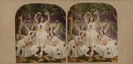 The Shadow Dance, from Charles Kean's production of Shakespeare's Midsummer Night's Dream at the Princess's Theatre, London. Stereoscopic card.