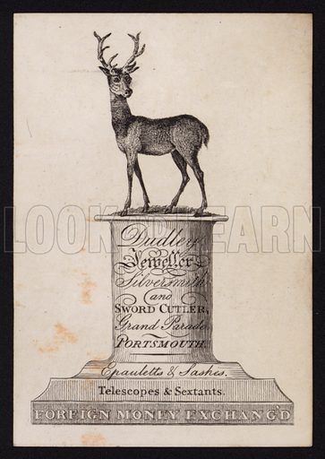 Trade card for Dudley, jeweller, silversmith and sword cutter, Grand Parade, Portsmouth, Hampshire.