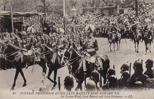 Field Marshals Sir Evelyn Wood, Lord Roberts and Lord Kitchener, funeral procession of King Edward VII, London, 1910.