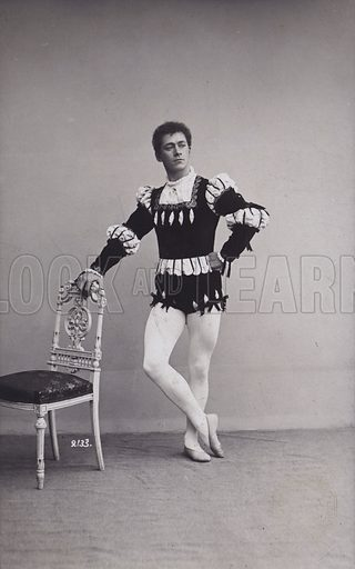 Mikhail Mordkin (1880-1944), Russian ballet dancer. Postcard, late 19th or early 20th Century.