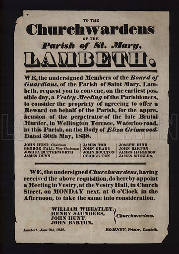 Notice requesting the churchwardens of the Parish of St Mary, Lambeth, London, to agree to offer a reward for catching the murderer of Eliza Grimwood, 1838.