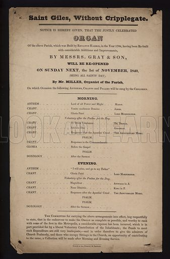 Notice of the reopening of the organ of the Church of St Giles, without Cripplegate, City of London, after repairs, 1840.