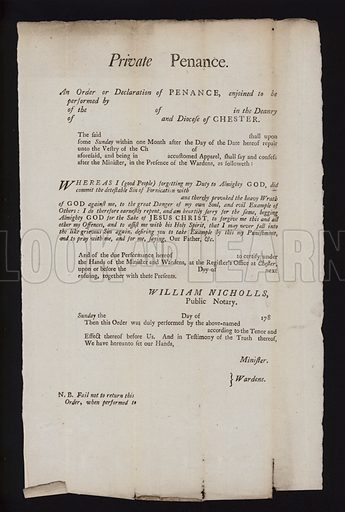 Order or declaration of penance for the diocese of Chester, 1780s.