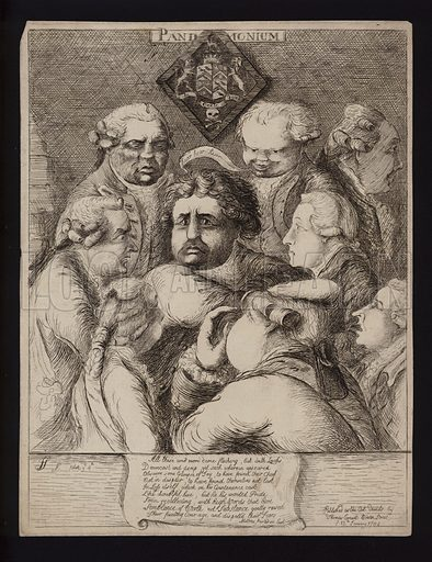 Pandemonium: satire on the political instability in Britain after the fall of the Fox-North Coalition and its replacement with the government of William Pitt the Younger, 1784.