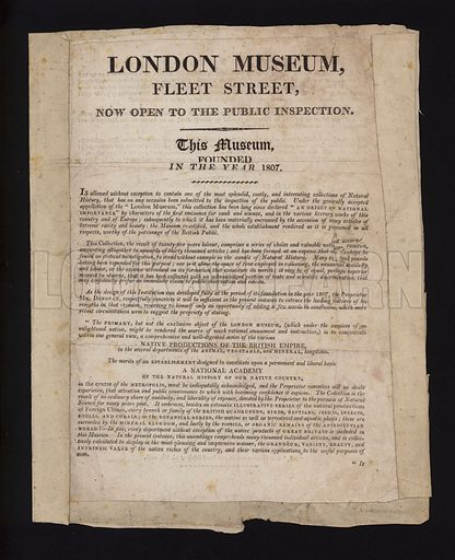 Notice of the opening of the London Museum, Fleet Street, 1807.
