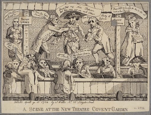 A Scene at the New Theatre, Covent Garden: satire depicting a political hustings in Covent Garden, London, 1784.