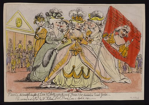 Devonia, the beautiful daughter of love & liberty, inviting the sons of freedom to her standard in Covent Garden: political satire on the Duchess of Devonshire's support for Charles James Fox, 1784.