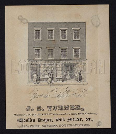 Advertisement for J B Turner, woollen draper and silk mercer, 125 High Street, Southampton, Hampshire.