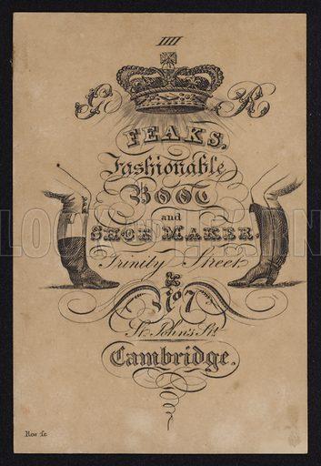 Advertisement for Feak's, fashionable boot and shoe maker, Cambridge, Cambridgeshire.