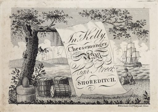 Advertisement for John Kelly, cheesemonger, 98 High Street, Shoreditch, London.