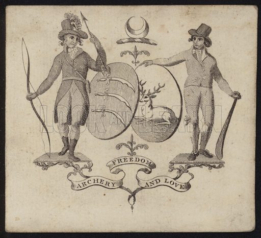 """Visitor card for the Union Society for Archery and Cricket, with the motto """"Archery, Freedom, and Love""""."""