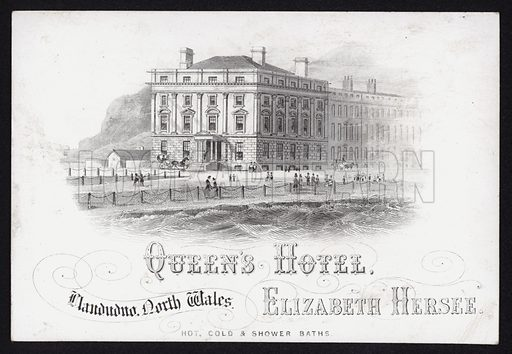 Trade card for the Queen's Hotel, Llandudno, North Wales.