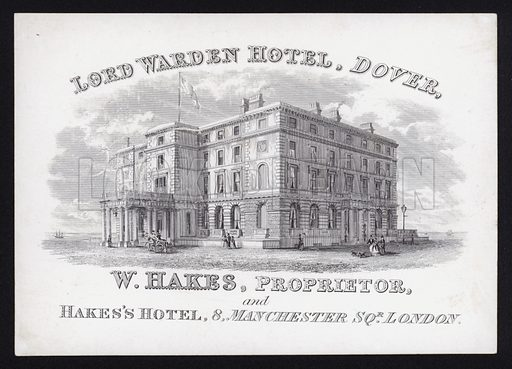 Trade card for the Lord Warden Hotel, Dover, Kent.