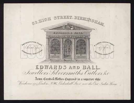Trade card for Edwards and Ball, jewellers, silversmiths and cutlers, 52 High Street, Birmingham.