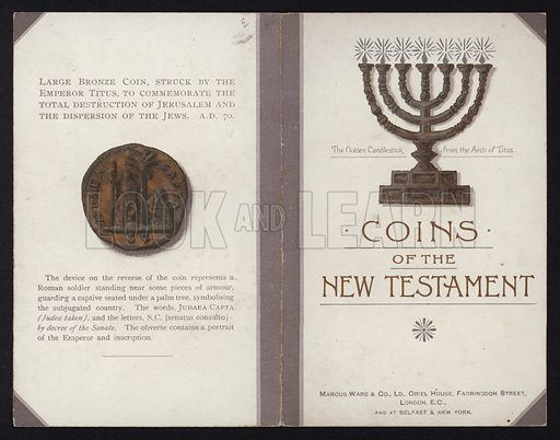 Large bronze coin struck by the Roman Emperor Titus to commemorate the destruction of Jerusalem, and the golden candlestick from the Arch of Titus.